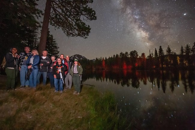 Milky Way above Reflection Lake with Photography Participants