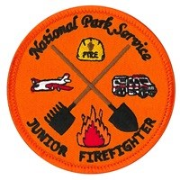 Orange patch with firefighting symbols