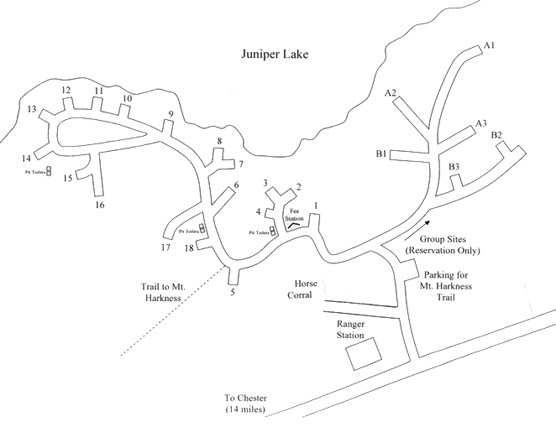 Map of Juniper Lake Campground