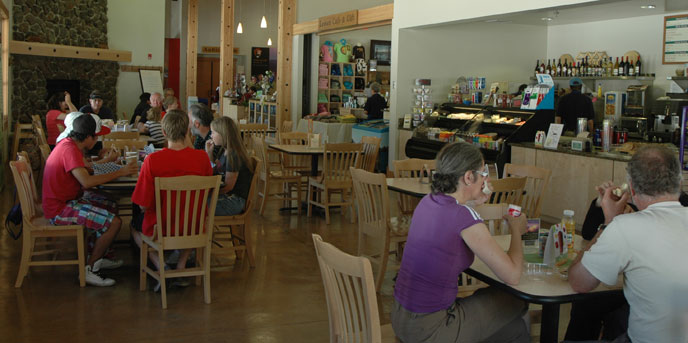 Visitors enjoying lunch at the Lassen Cafe & Gift in the Kohm Yah-mah-nee Visitor Center