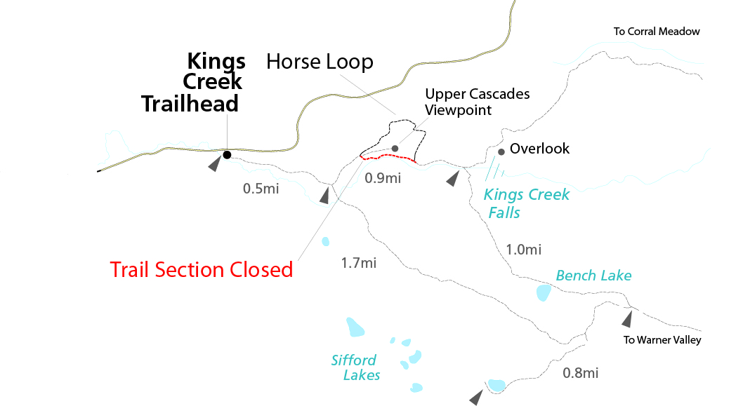 Map of closed section of Kings Creek Trail