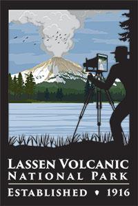 Centennial logo featuring man photographing Lassen Peak eruption.