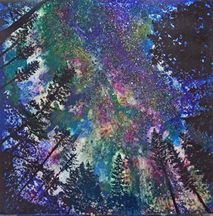 A highlight pigmented watercolor painting of a night sky and conifer tree tops