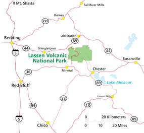 Map Of Area Around Lassen Park