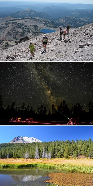 Three stacked photos showing hikers on a steep rocky trail above a blue lake, a green lazer cutting across a dark sky filled with stars and the Milky Way, a fall landscape with orange leaves in a pond below a snow-dusted mountain