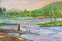Watercolor painting of Manzanita Lake