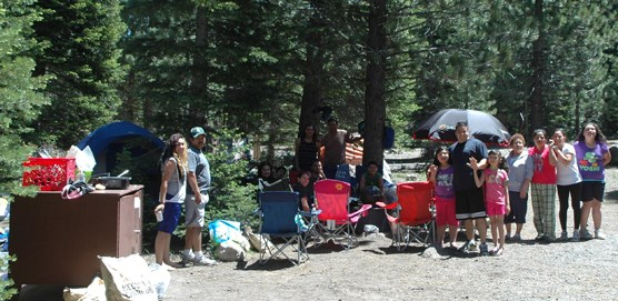 Campers at Manzanita Lake Campground