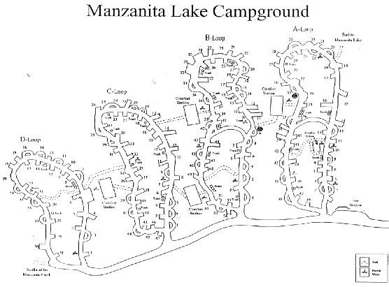 Map of Manzanita Lake Campground