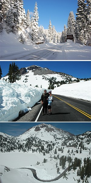 Three stacked images showing snow on a highway, a couple on road flanked by snow, and a curving road cut into snow below a peak