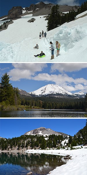 Three stacked images showing kids sledding in summer attire, a lake below a snow-covered peak, a lake edged by snow below a peak