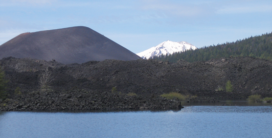 View of Cinder Cone and Lassen Peak from Butte Lake