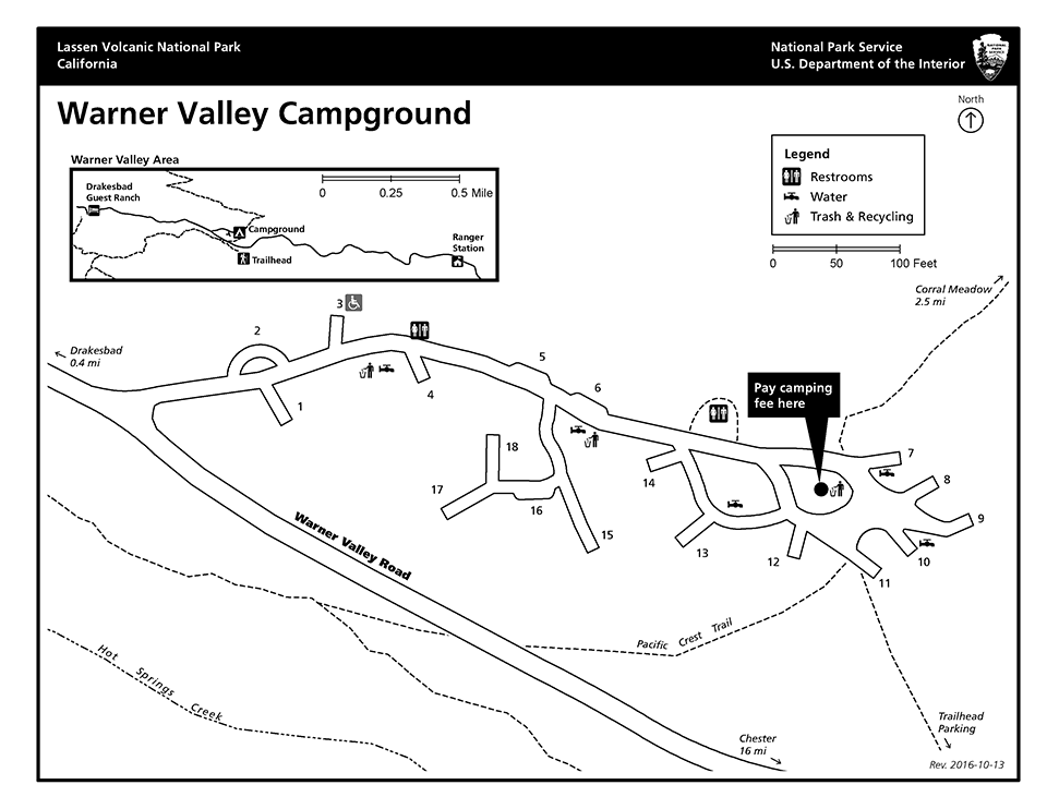 Map of Warner Valley campground depicting numbered sites and facilities