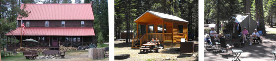 Drakesbad Guest Lodge, Manzanita lake camping cabin and campers at Crags campground