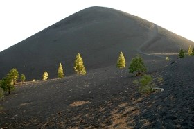 View of Cinder Cone and the trail climbing up the right side.