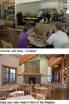 Summer and winter at the cafe/dining area