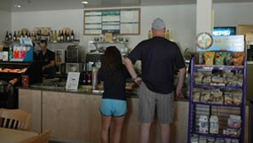 Visitors at the Lassen Cafe in the Kohm Yah-mah-nee Visitor Center