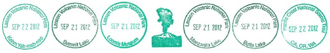 Lassen National Park Service passport stamps