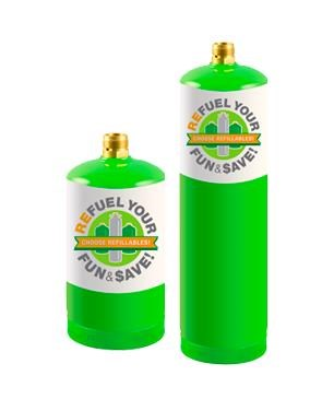 Two green refillable propane canisters