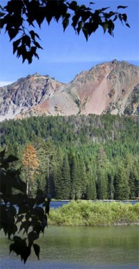 Landscape of Manzanita Lake and Chaos Crags