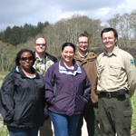 Lewis and Clark staff with staff of Lewis and Clark Interpretive Center of Ilwaco, WA