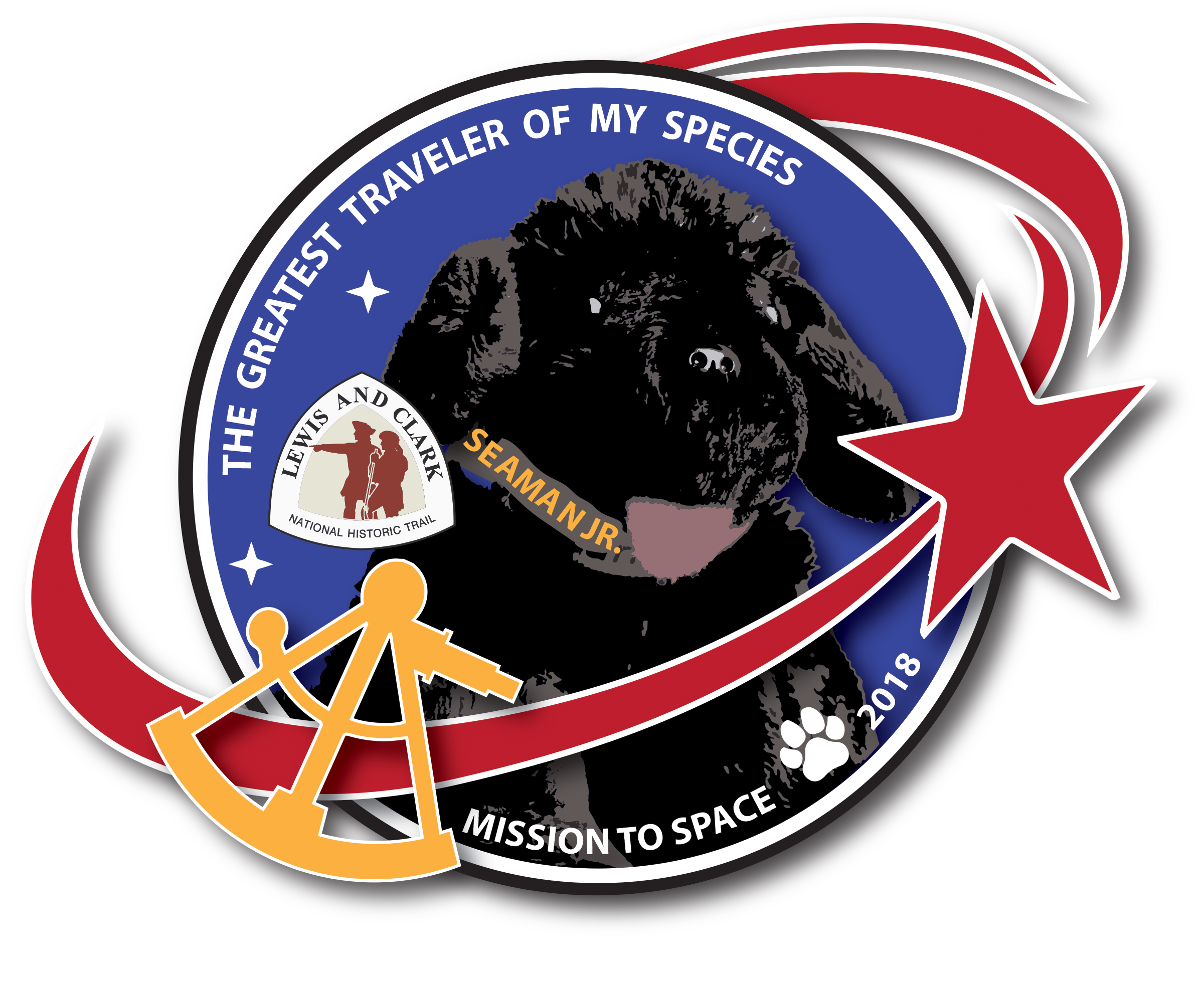 toy dog in logo for space flight