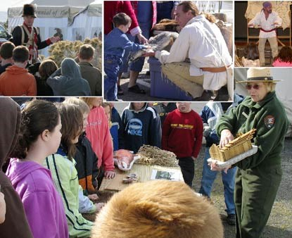 A collage of activities showing children and rangers and reenactors.