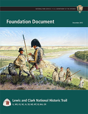illustration by Michael Haynes of Lewis and Clark on bank with river in background