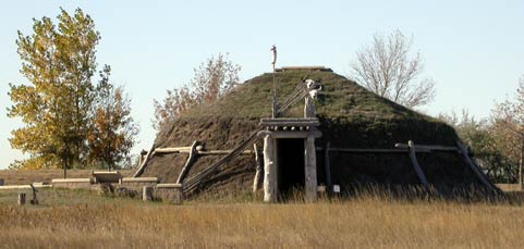 Earth lodge at Knife River Indian Villages National Historic Site.