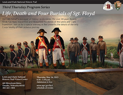 Event flyer for Third Thursday Program about Sgt Floyd burial by Bev Hinds