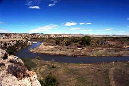 View near the confluence of the Missouri River showing one of the Three Forks in the foreground.