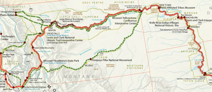 Section of map showing Lewis and Clark National Historic Trail.