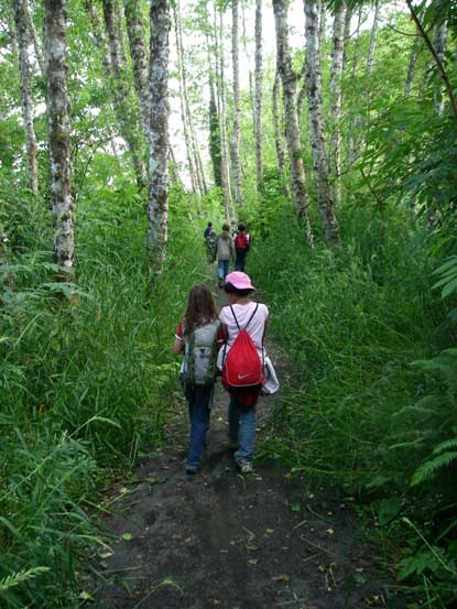 Students hiking the Netul Trail