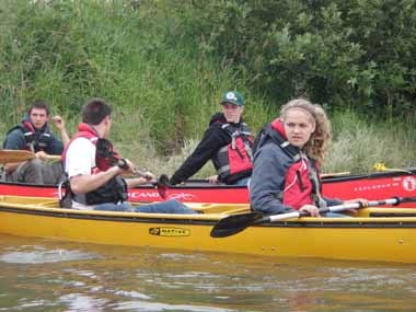 YCC students kayaking on the Lewis and Clark River