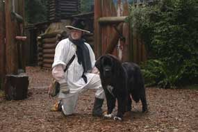 Dolly plays the role of Seaman in Fort Clatsop's Living History Program