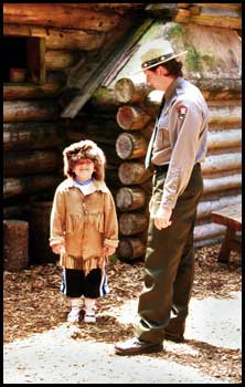 Junior Ranger and Park Ranger learn about Fort Clatsop