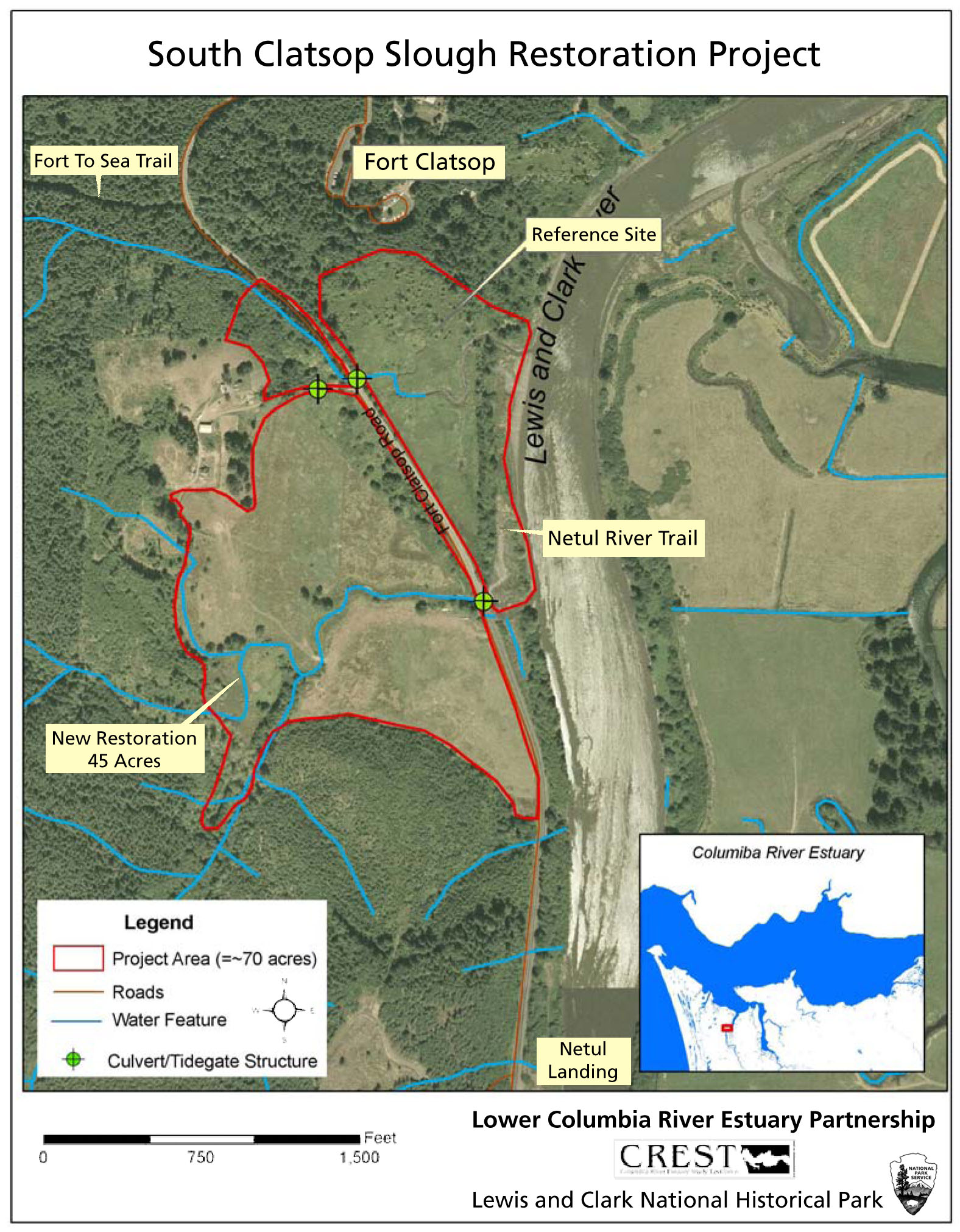 South Clatsop Slough Restoration Project Lewis And Clark - Fort clatsop on map of us