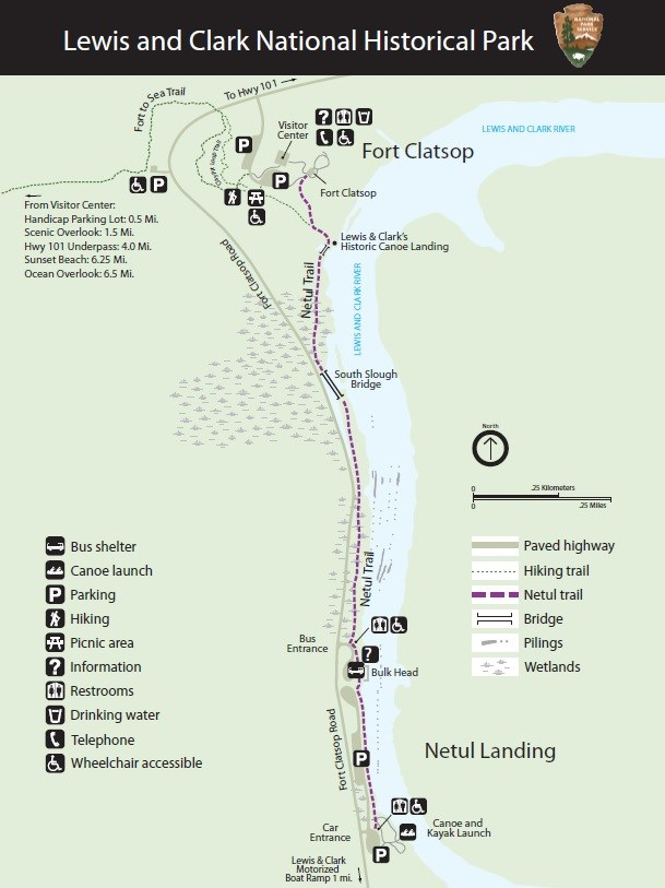 Map of Netul trail that runs south from the visitor center and connects to Netul Landing