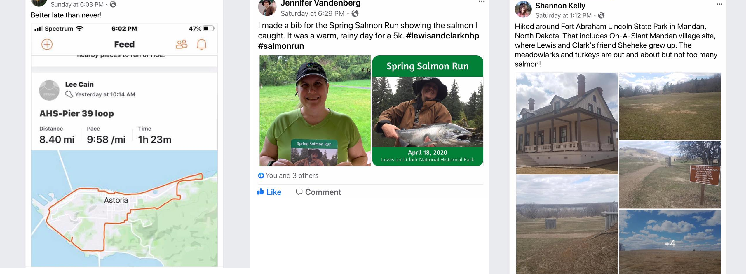 Three social media posts of physical activity completed on April 18th for Virtual Salmon Run
