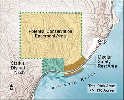 This map image is a representation of the proposed boundary for Clark's Dismal Nitch Unit of the Lewis and Clark National Historical Park. The boundary includes a proposed conservation easement over the surrounding forested hillside. Courtesy of Cliff Vancura of Otak, Inc.