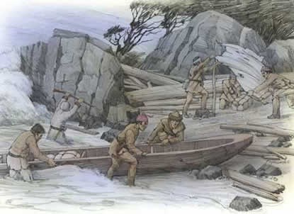 This is an artist's depiction of the horrible conditions the Corps of Discovery endured at the Dismal Nitch while trapped along the rocky shoreline for six days by a strong, unrelenting winter storm. Drawing by Roger Cooke, Courtesy of the Washington State Historical Society.