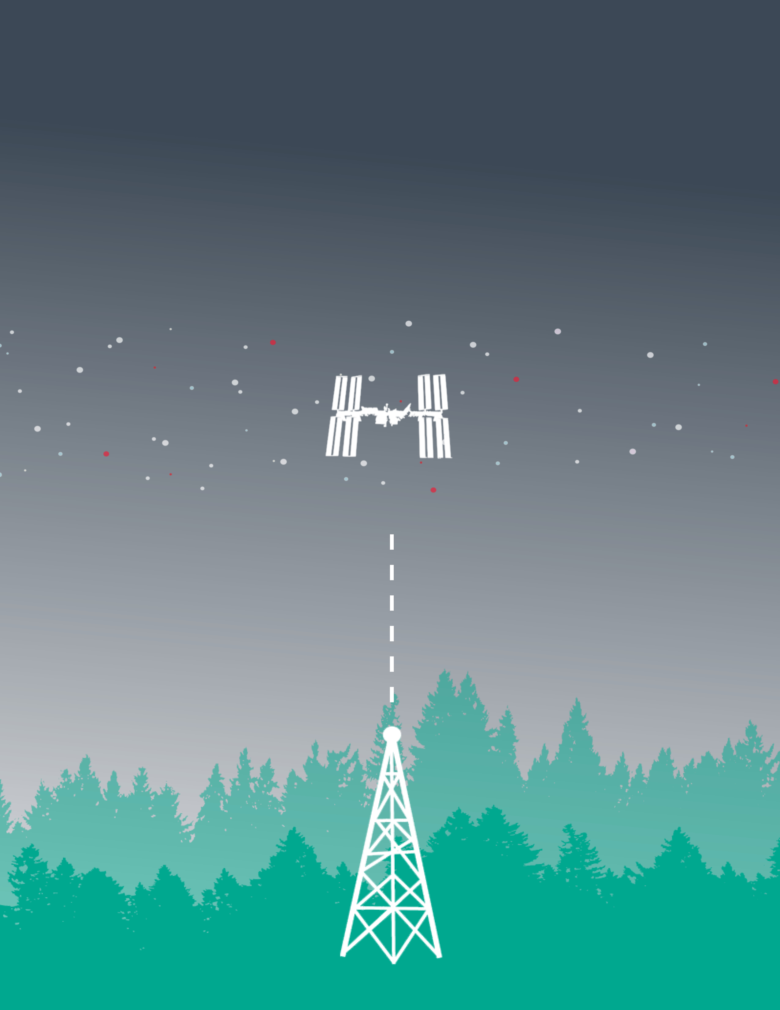 graphic of radio tower and space station