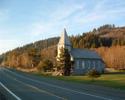 This photograph is a view of the existing highway and the historic St. Mary's Church at the Station Camp site.
