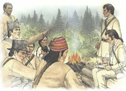 "This is an artist's depiction of the ""The Vote"" at Station Camp, when each member of the group had an equal voice in deciding where the expedition party would make winter camp."