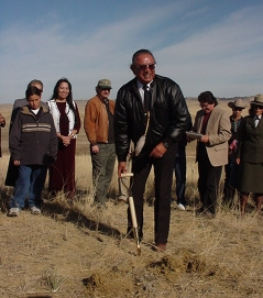 Mr. Caleb Shields, Fort Peck Reservation, at groundbreaking ceremonies for the Indian Memorial at the Little Bighorn Battlefield National Monument