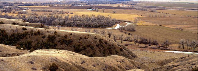 Looking down the ravines toward the Little Bighorn River,