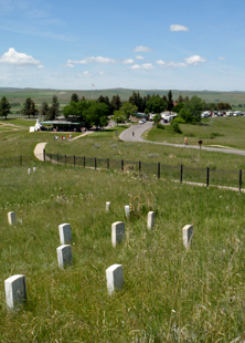 View from the top of Last Stand Hill over looking Custer's marker and Visitor Center.