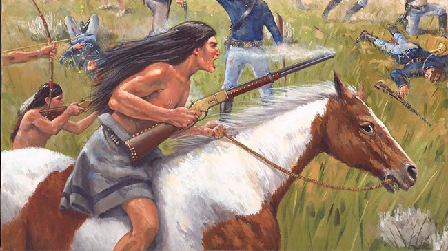 Painting showing an American Indian holding a spear and riding a white and brown horse.