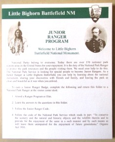 Front page of Little Bighorns Battlefields Junior Ranger booklet.