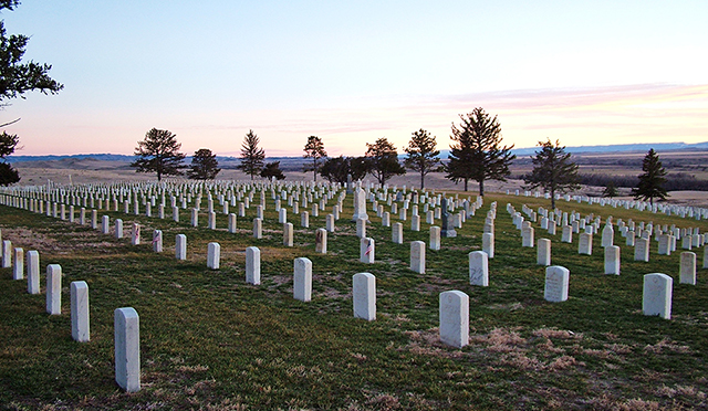 Custer National Cemetery at sunset