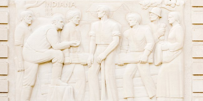 Indiana Sculptured panel on Memorial Visitor Center